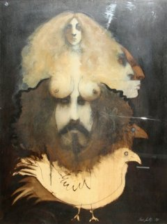 Multiple Images I 1971 Original Painting - Ramon Santiago