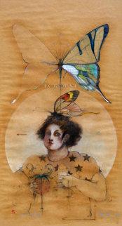 Butterfly Drawing 1979 60x34 Super Huge Original Painting - Ramon Santiago