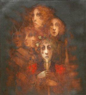 Mask 1972 40x36 Original Painting - Ramon Santiago