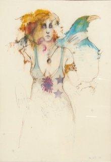 Woman With Bird Watercolor 1973 38x26 Watercolor - Ramon Santiago