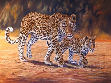 Leopard Family 39x27 Original Painting - Lewis A. Ramsey