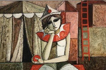 Contemplative Clown 1973 34x46 Original Painting - Lucio Ranucci