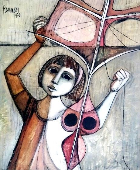 Kite Flyer 1970 32x28 Original Painting by Lucio Ranucci