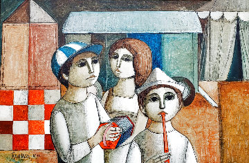 Circus Day 1974 30x42 Huge Original Painting - Lucio Ranucci