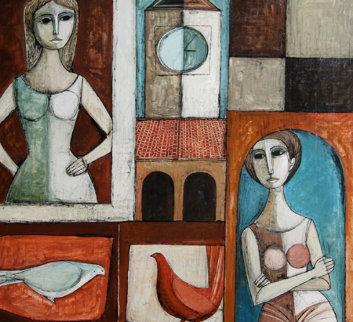Pranzo 1971 40x41 Original Painting - Lucio Ranucci