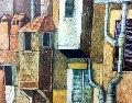 Roman Courtyard 1976 30x37 Original Painting - Lucio Ranucci