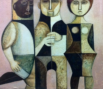 Mysterious Trio 1975 39x45 Original Painting by Lucio Ranucci