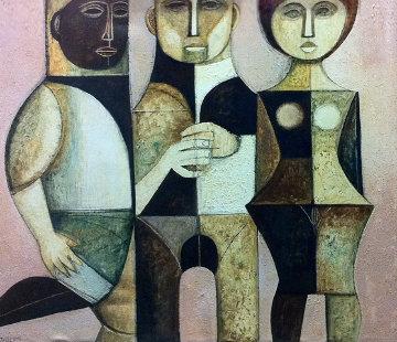 Mysterious Trio 1975 39x45 Original Painting - Lucio Ranucci