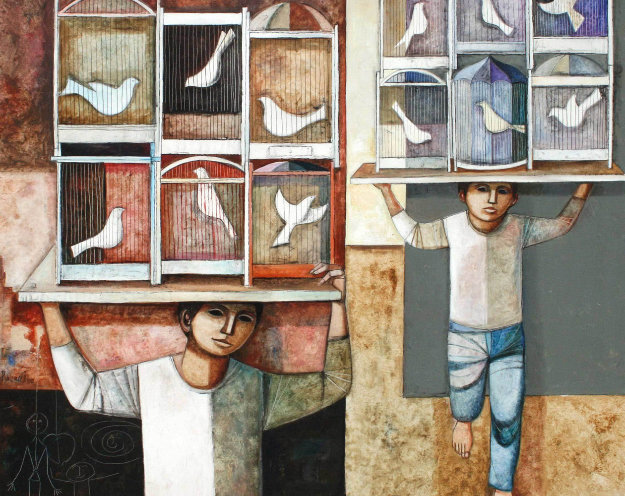 Cages 1982 48x58 Original Painting by Lucio Ranucci