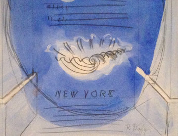 A Study For an Invitation 1950 Works on Paper (not prints) by Raoul Dufy