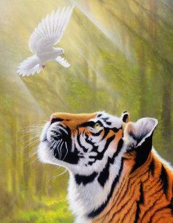 Peace And Power 2013 46x34 Huge Original Painting - Jon Rattenbury