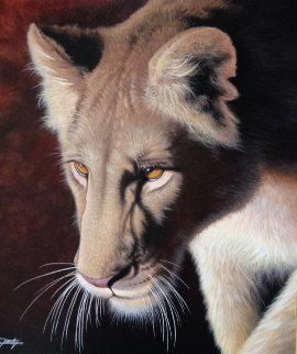 Golden Eyes 2013 33x29 Original Painting - Jon Rattenbury