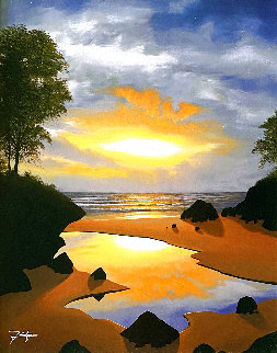 Tidal Reflections 2011 29x25 Original Painting - Jon Rattenbury