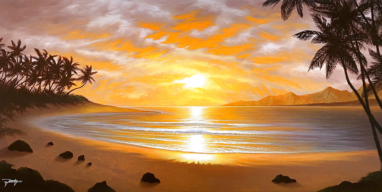 Silhouettes of Paradise 2012 26x44 Huge Original Painting by Jon Rattenbury
