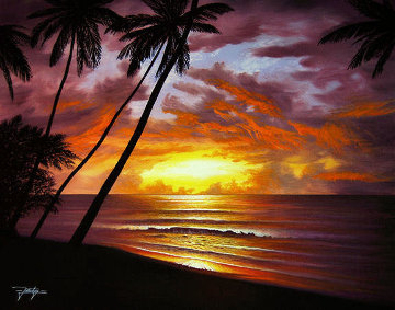 Sea of Paradise 1982 25x29 Original Painting - Jon Rattenbury