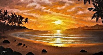 Silhouettes of Paradise 2012 22x40 Original Painting - Jon Rattenbury