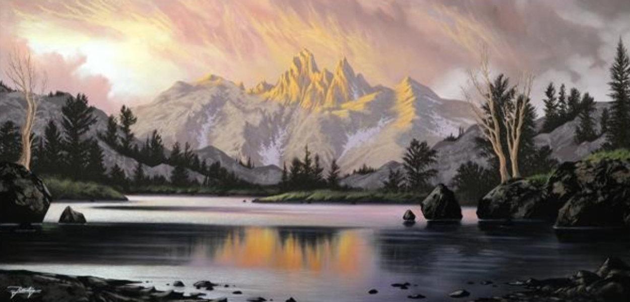 Awaiting Twilight 2014 47x47 Super Huge Original Painting by Jon Rattenbury