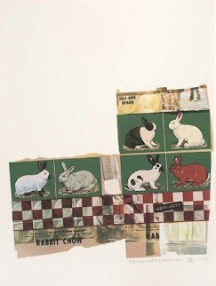 Rabbit Chow, From Chow Bags 1977 48x36 Huge Limited Edition Print - Robert Rauschenberg
