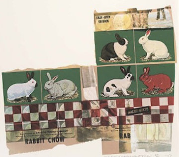 Rabbit Chow, From Chow Bags 1977 48x36 Super Huge Limited Edition Print - Robert Rauschenberg