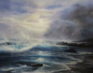 Misty Surf 1985 33x40 Huge Original Painting - Raymond Page