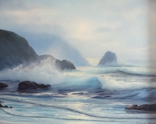 Seascape 1970 26x30 Original Painting by Raymond Page