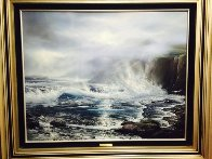 Azure Ocean 1988 32x39 Original Painting by Raymond Page - 3