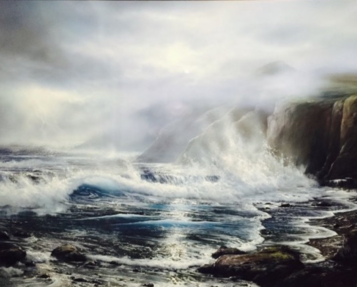Azure Ocean 1988 32x39 Original Painting by Raymond Page