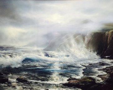 Azure Ocean 1988 32x39 Original Painting - Raymond Page