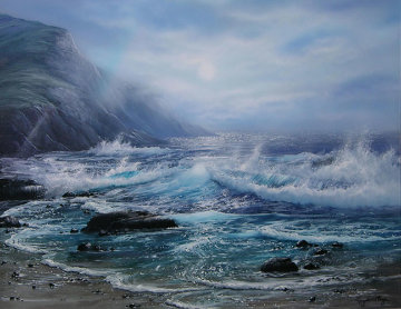 Misty Seascape 1995 19x17 Original Painting - Raymond Page