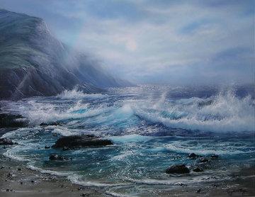 Misty Seascape 1995 19x17 Original Painting by Raymond Page
