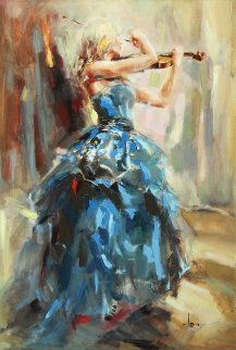 Dancing With a Violin Embellished Limited Edition Print - Anna Razumovskaya