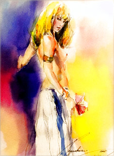 Girl With Purple Flower 2005 Limited Edition Print - Anna Razumovskaya