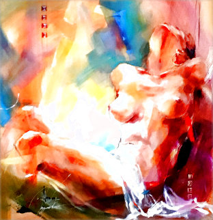 Nude and Abstract 2006 26x26 Original Painting - Anna Razumovskaya
