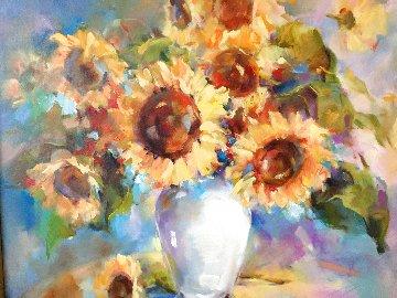 Sunflowers 2006 37x37 Original Painting - Anna Razumovskaya