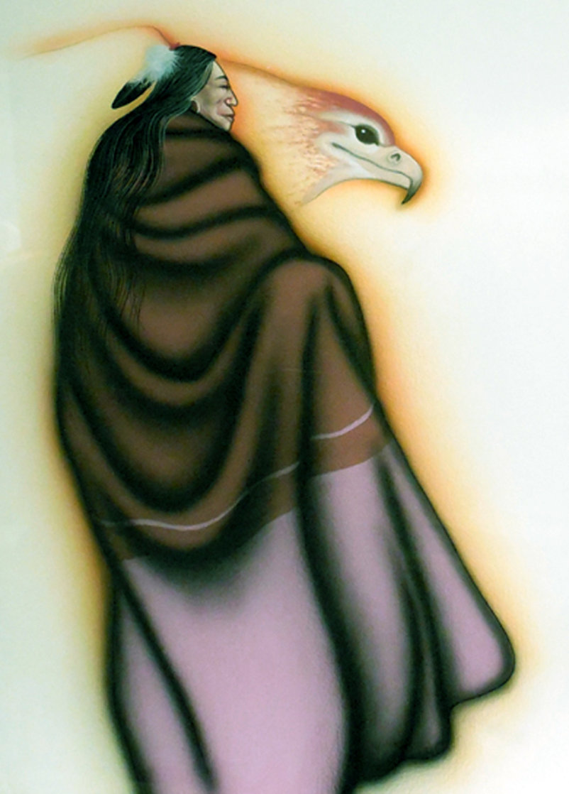 Native American Woman and Eagle Watercolor 1990 32x39 Original Painting by Robert Redbird, Sr.