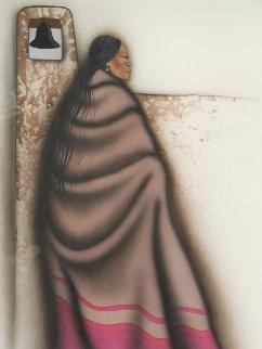 Native American Woman & Mission Bell 1990 33x41 Original Painting by Robert Redbird, Sr.