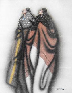 Kiowa Prophets 1988 41x33 Original Painting - Robert Redbird, Sr.