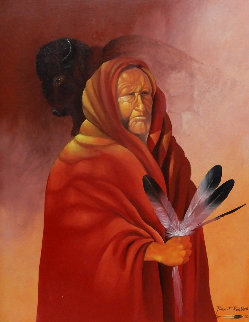 Untitled Portrait of a Native American Man 39x33 Original Painting - Robert Redbird, Sr.