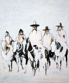 Crow Watchmen on Horses 45x35 Original Painting - Kevin Redstar