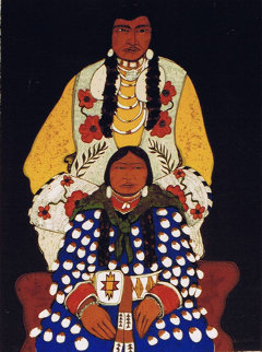 Mr. and Mrs. Beads 1982 42x32 Original Painting - Kevin Redstar