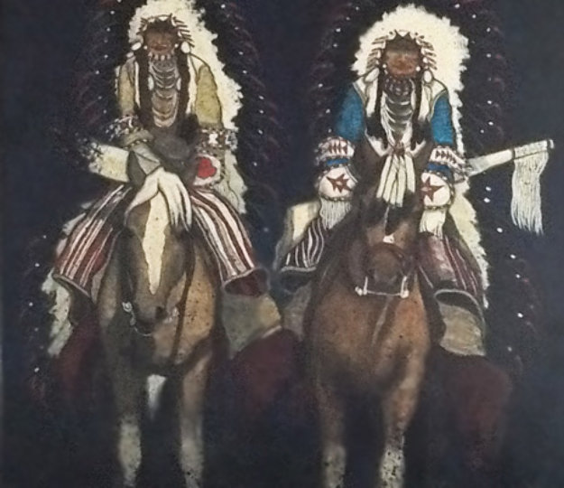 Untitled Indians on Horseback 49x44 Original Painting by Kevin Redstar