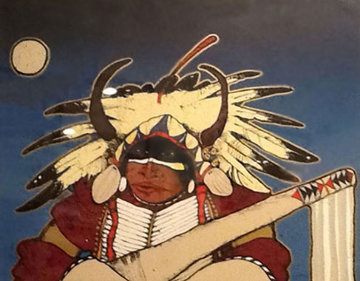 Untitled Indian 1980 30x37 Original Painting by Kevin Redstar