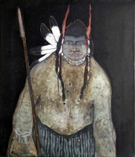 Untitled (Portrait With Spear) 28x24 Original Painting by Kevin Redstar