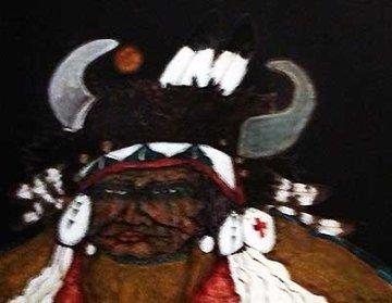 Old Indian Crow Man 1979 27x33 Original Painting - Kevin Redstar