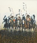 Three Warriors With Coup Sticks 1991 48x42 Original Painting - Kevin Redstar