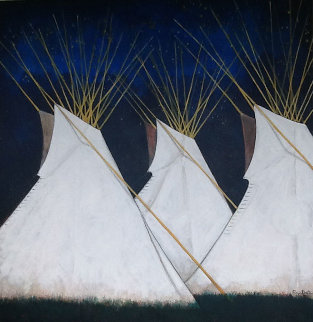 Crow Teepees 2008 44x40 Original Painting - Kevin Redstar