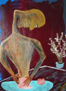 Fashioning with Piano Jazz 2007 20x14 Original Painting - Reginald K. Gee