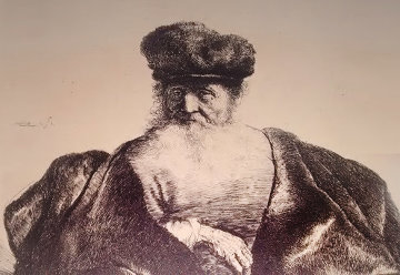 Old Man Seated With Flowing Beard, Fur Cap And Velvet Cloak  Limited Edition Print -  Rembrandt