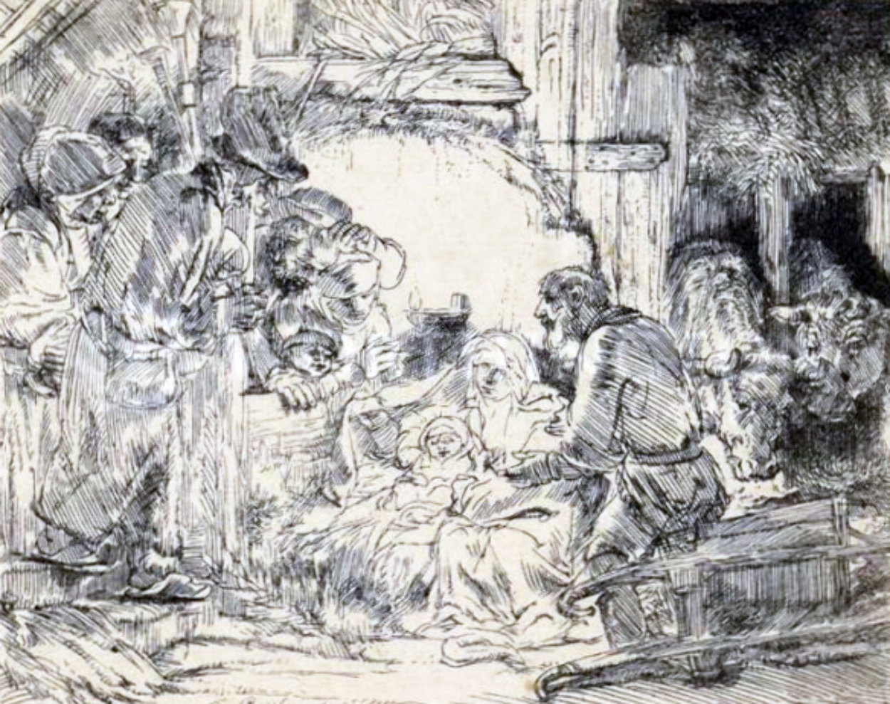 Adoration of the Shepherds Limited Edition Print by  Rembrandt