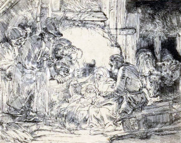 Adoration of the Shepherds Limited Edition Print -  Rembrandt
